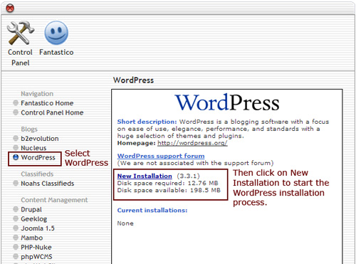 "Figure 4: Start the actual WordPress install by clicking on ""New Installation."" (Click to see a larger image)"